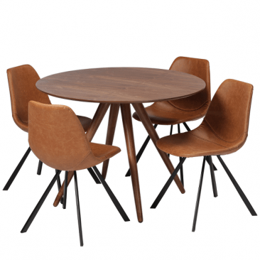 Valnød cafébords sæt Pheno/Pitch