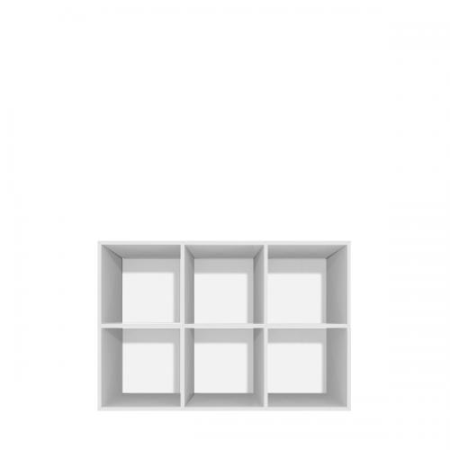 Lav reol med 6 rum - åben eller med låger