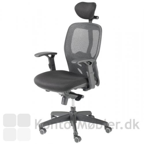 Tempo kontorstol - med armlæn og nakkestøtte