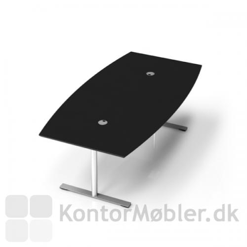 Konferencebord i linoleum med kabelgennemføringer