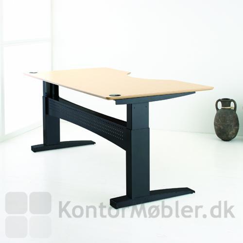 Consets 501-11 hæve sænke bord med sort stål stel og ahorn plade