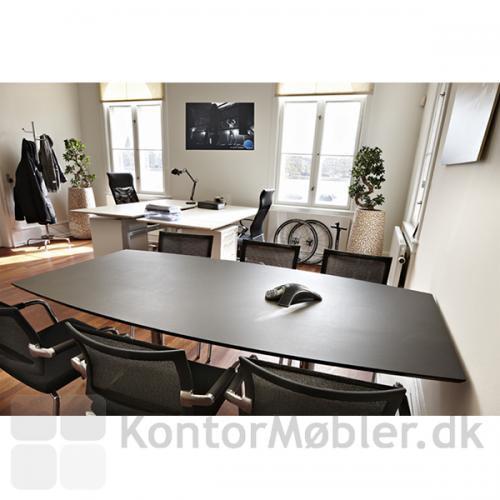 Delta mødebord i sort linoleum med seks Skin-stole