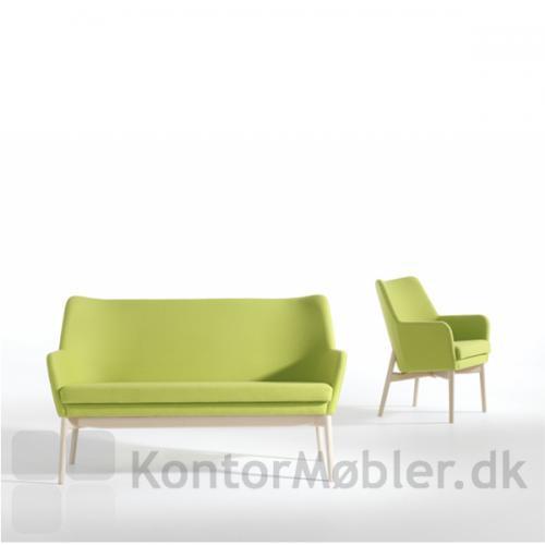 Uni sofa og stol i grøn med ben i bøg