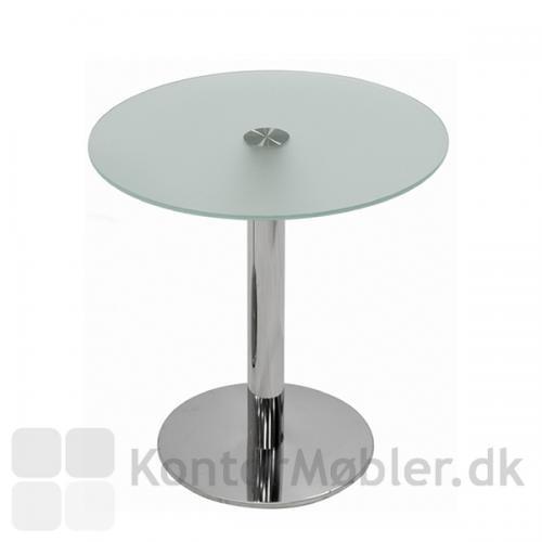 IF glasbord med mat glasplade og Inox søjle