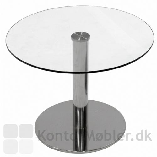 IF glasbord med Inox søjle i krom og klar glasplade