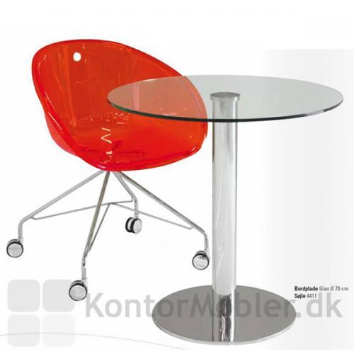 IF glasbord med Inox søjle i krom og glasbordplade i klar glas