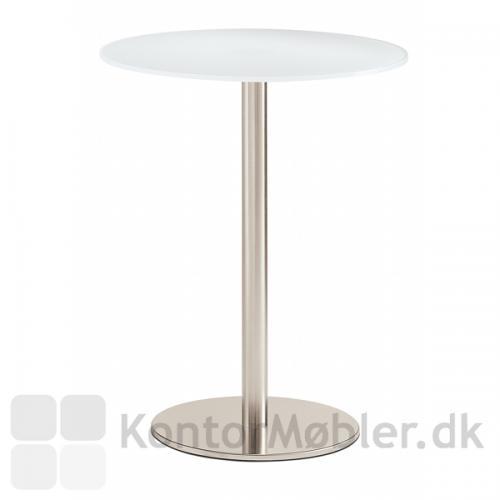 IF glasbord med Inox søjle i børstet stål og hvid glasbordplade