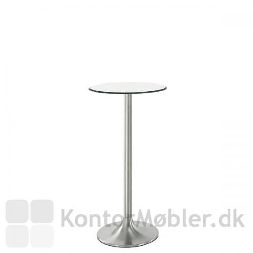 Cafébord i hvid kompaktlaminat og Dream søjle i krom