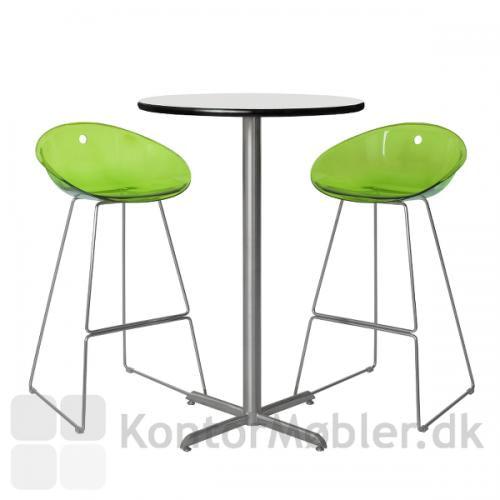 Cafébord med hvid kompaktlaminat bordplade og IF søjle