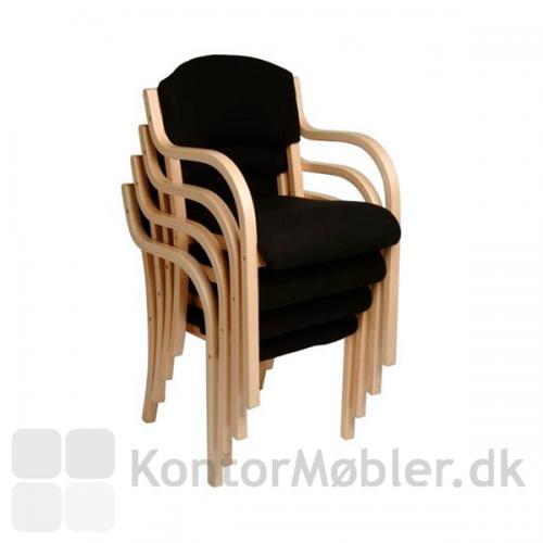 Tina mødestol i sort med stel i ahorn bejdset bøg