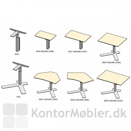 Tegning af de forskellige Delta borde og pladetyper