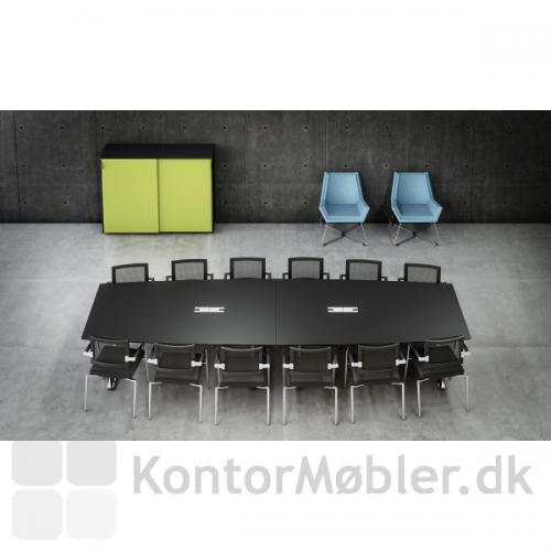 To-delt Delta konferencebord i sort linoleum med Skin stole