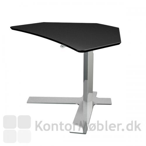 Delta enkeltsøjlet hæve sænke bord - her med 110x80 cm plade i sort linoleum