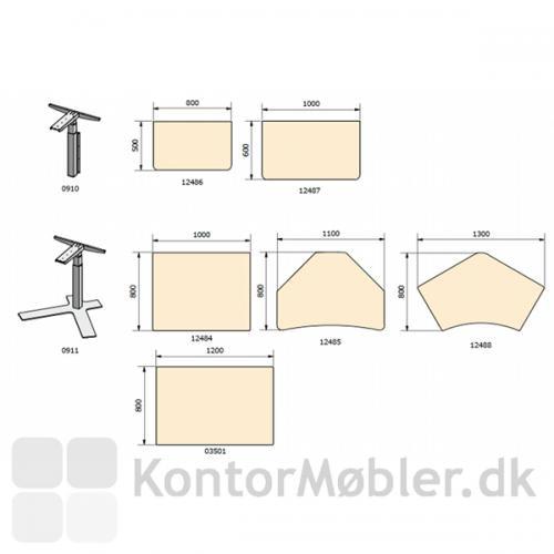Pladetegning med standard-plader fra Dencon til 0911 stellet