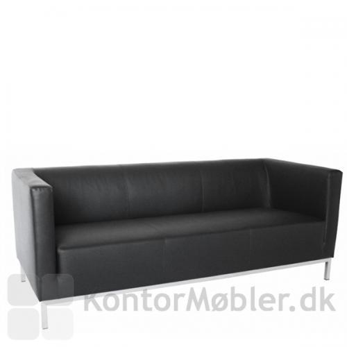 Argo sofa i sort læder til 3 personer