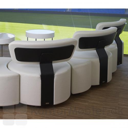 Circles modulsofa i hvid læder med sort rygstykke