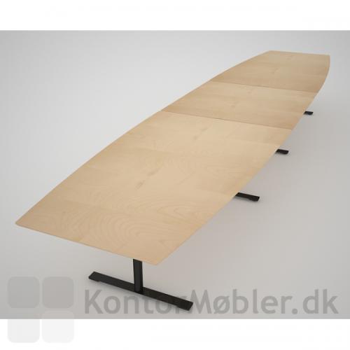 Stort tre-delt konferencebord fra danske Dencon - Her med ahorn finer og sort stel