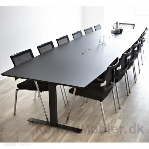 412 cm langt to-delt konferencebord i sort linoleum med sorte ben