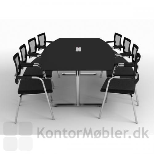 Det mindste mødebord på 206 cm i sort linoleum og forkromet stel - Kabelgennemføring i midten findes under relaterede produkter nederst på siden
