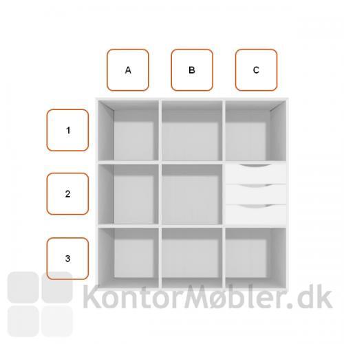 Skuffemodul med 3 skuffer unde greb, placeret i C2