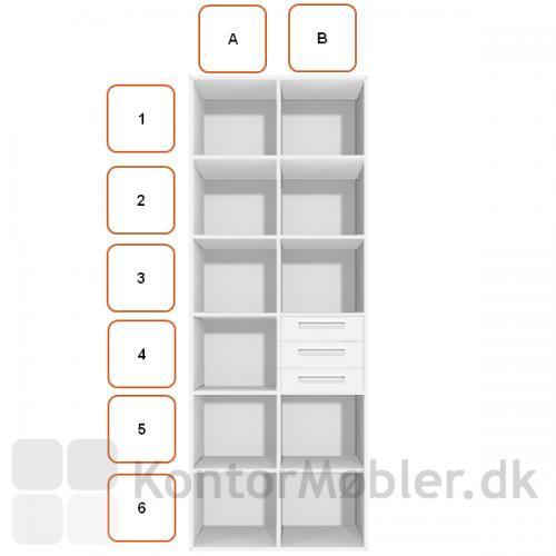 3 skuffer indsat i høj reol placering B4