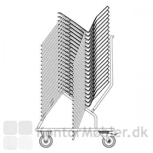 Transportvogn fra Four Design der gør det let at flytte dine stabelbare stole