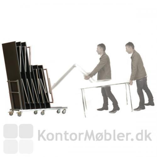 Med bordvognen fra Four Design, kan en person håndtere bordet uden løft