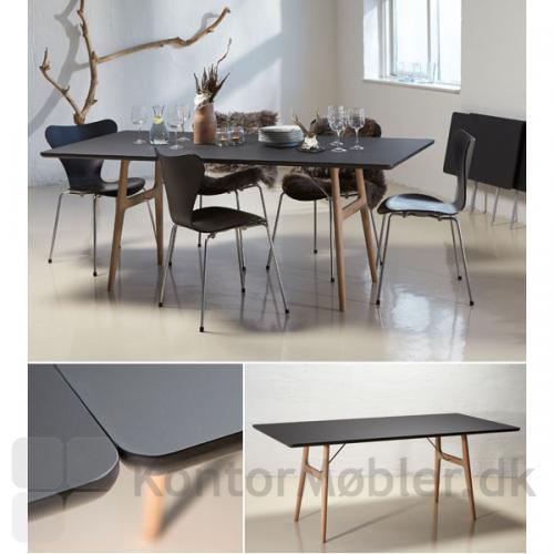 RM13 mødebord med bordplade i sort Fenix laminat