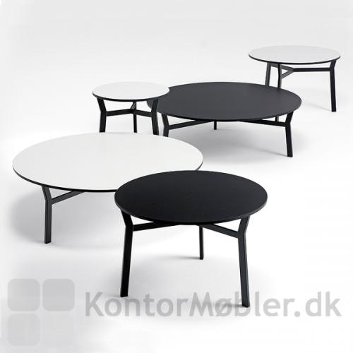 Sputnik bordet kan mixes i størrelser og farver feks. som her i hvid og sort