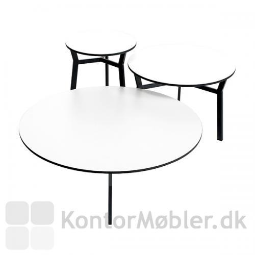 3 størrelser af sputnik bordet med hvid bordplade og sort stel