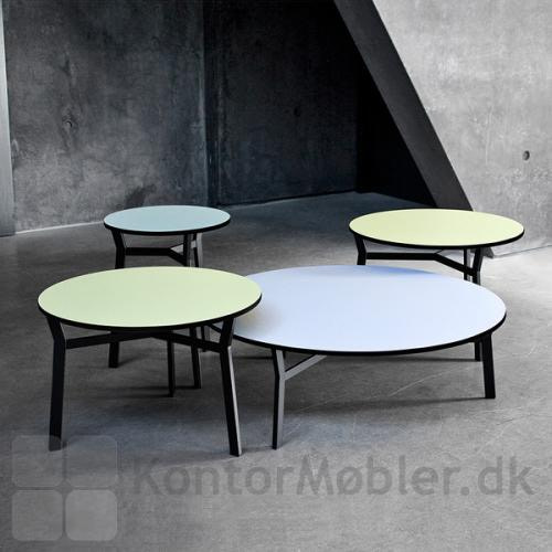 Sputnik borde med lys grøn eller lys blå bordplade