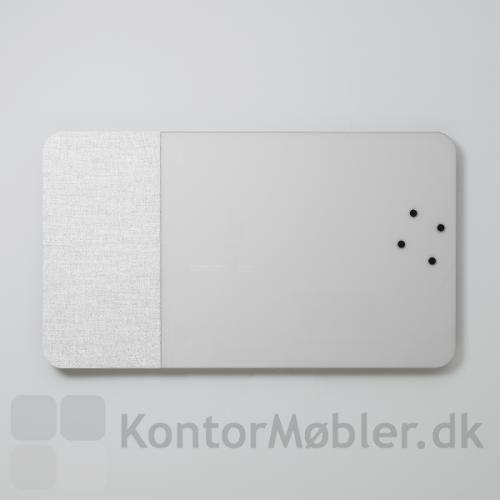 Mood Fabric Wall glastavle med lydabsorberende bagside - her er valgt 50 cm lydabsorbering i venstre side