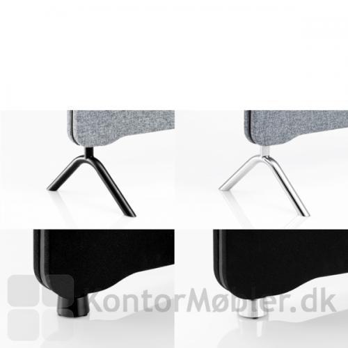 Edge skærmvæg fås med mange forskellige slags fødder, i enten sort eller poleret aluminium