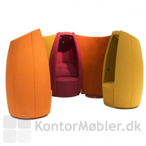 Cocoon hvilestol - her er 3 Cocoon samlet med 2 skærmvægge
