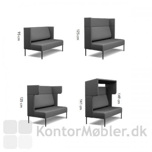 Mål på de forskellige modul opbygninger på Four Us sofa