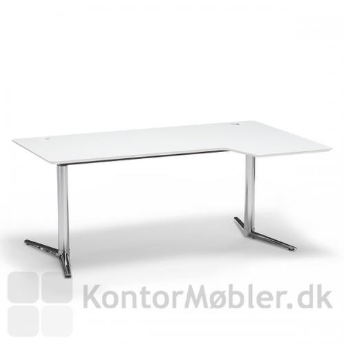 Switch hæve-/sænkebord med hvid bordplade og krom stel