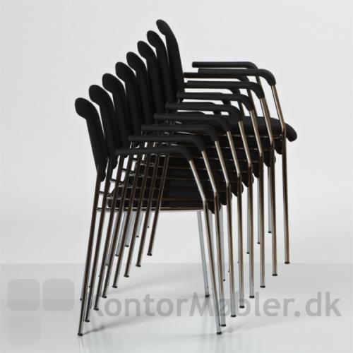 Pause mødestol med polstring, kan stables med 8 stk uden vogn