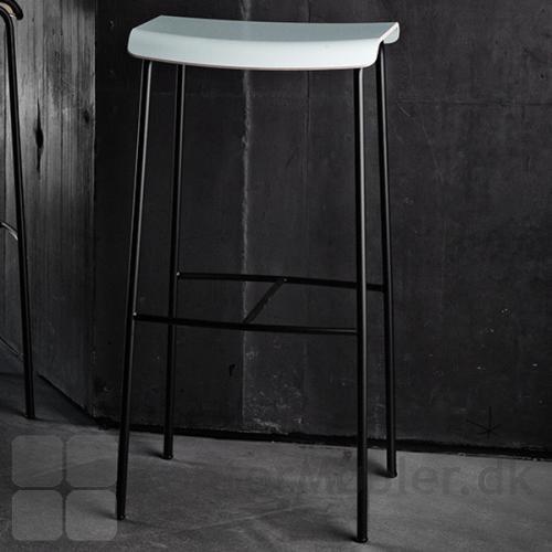 Pause barstol med hvidt sæde og sort stel