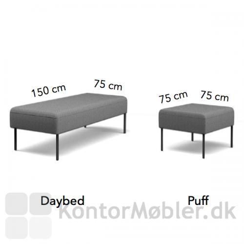 Four Us daybed og puf med mål - højde 45 cm