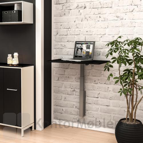 Delta vægmonteret hæve/-sænkebord med sort bordplade i roligt miljø