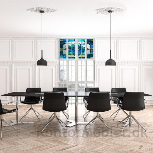 Delta tre-delt Mødebord med sort overflade fra dencon