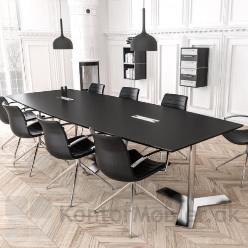 Delta tre-delt Mødebord fra dencon med sort overflade
