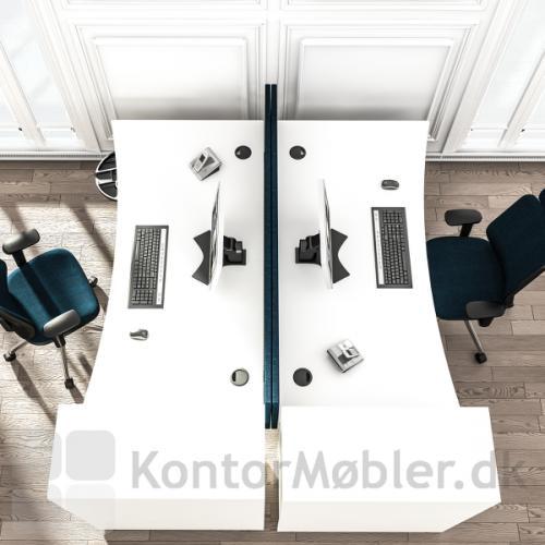 Delta hævesænkebord i hvid set fra oven