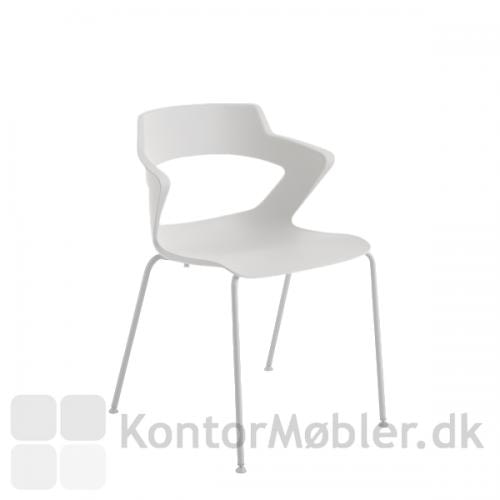 Aoki mødestol i hvid uden polstring