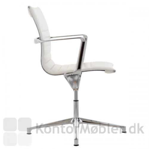 Sophia konferencestol med fodkryds og polstring i hvid læder