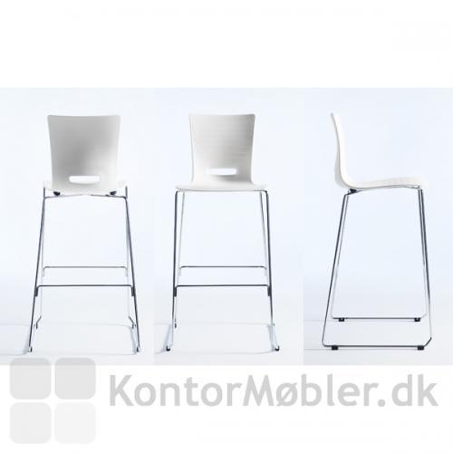 Groovy barstol med hvid skal og krom stel