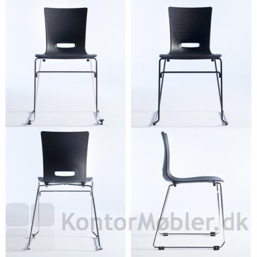 Groovy stol med meder, vælg mellem krom og sort stel