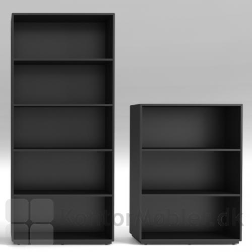 Reol med 5 og 3 brede hylder i sort