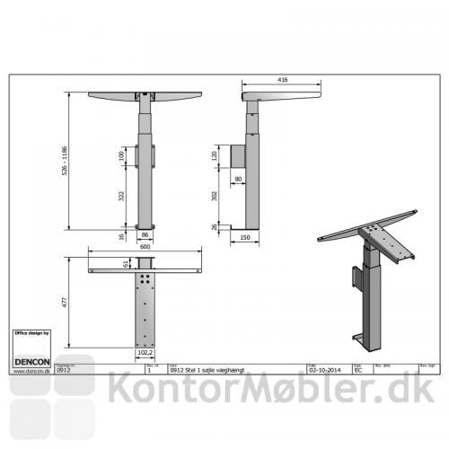 Væghængt hæve sænke bord med afstandstykke
