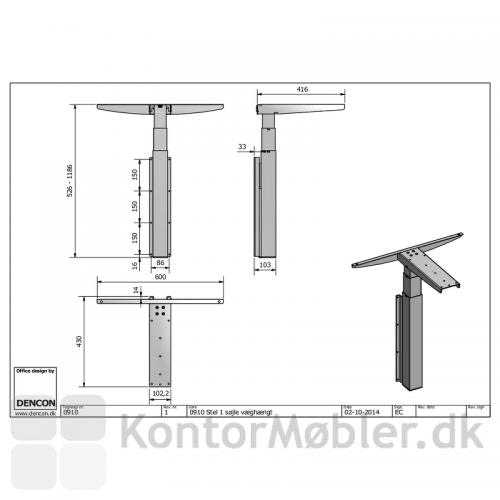 0910 vægmonteret enkelt-søjlet hæve sænke bord
